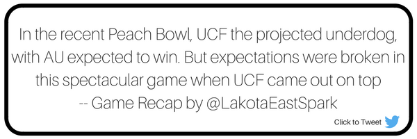 Peach Bowl Auburn v UCF Bowl Guide Recap by Michael Patterson Art by Lauren Maier Lakota East Spark Online Newsmagazine Spark