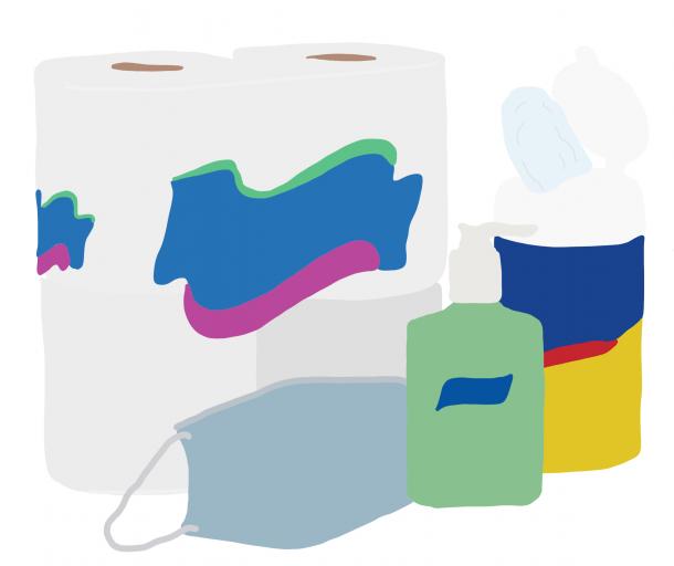 kelly johantges, ava huelskamp, dean hume, spark, lakota east spark, coronavirus, covid-19, toilet paper, hand sanitizer, lakota, lakota east, supplies shortage, paper towels